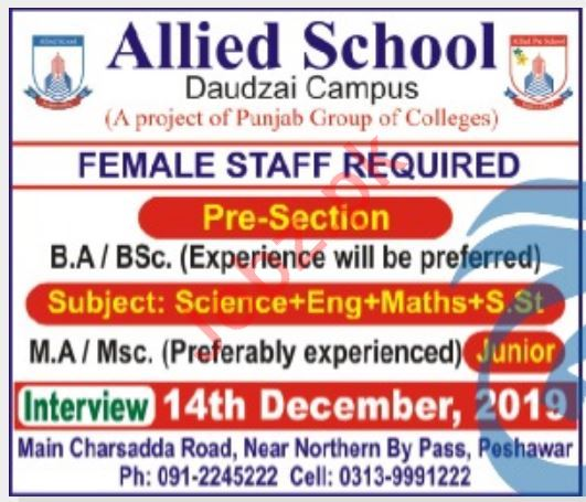 Allied School Daudzai Campus Jobs 2019 in Peshawar KPK