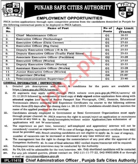 Punjab Safe Cities Authority PSCA Lahore Jobs 2019