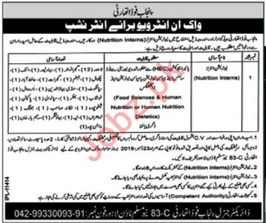 Punjab Food Authority PFA Nutrition Intern Walk in Interview