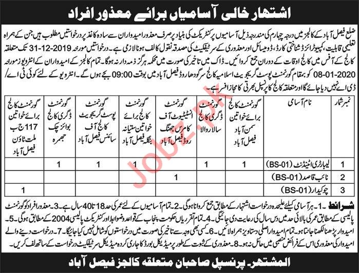 Government Colleges Jobs 2019 in Faisalabad