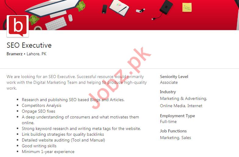 SEO Executive Job 2019 in Lahore
