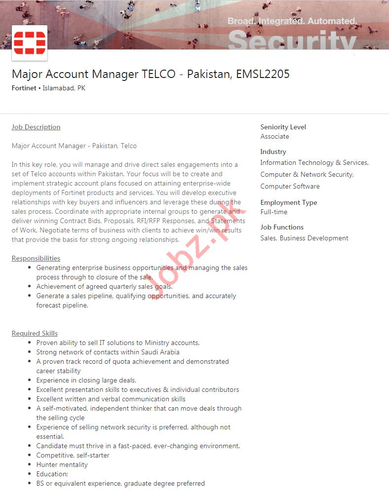 Major Account Manager TELCO Pakistan Job in Islamabad