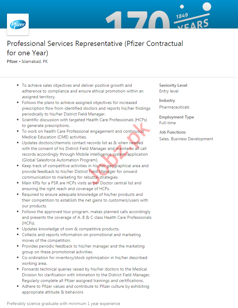 Professional Services Representative Jobs in Pfizer