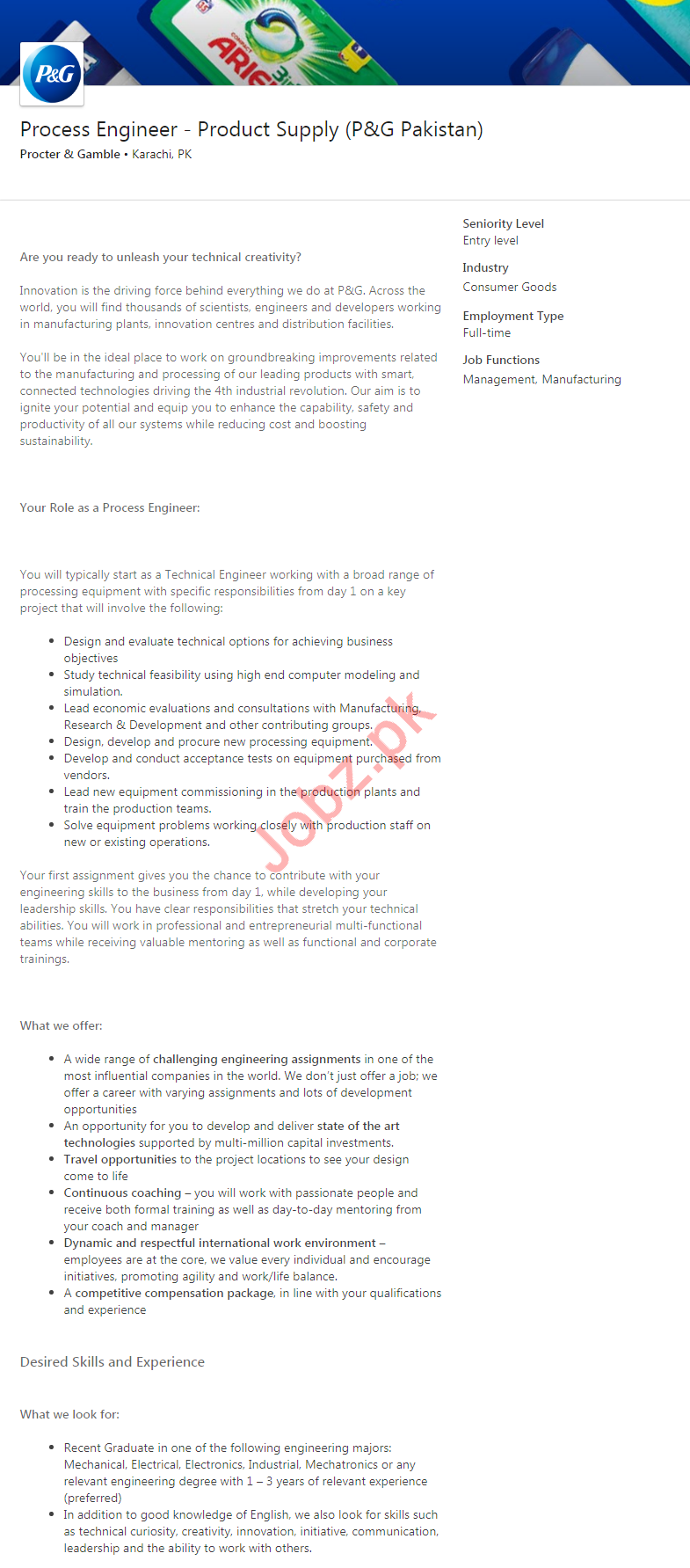 Process Engineer Jobs in Proctor & Gamble