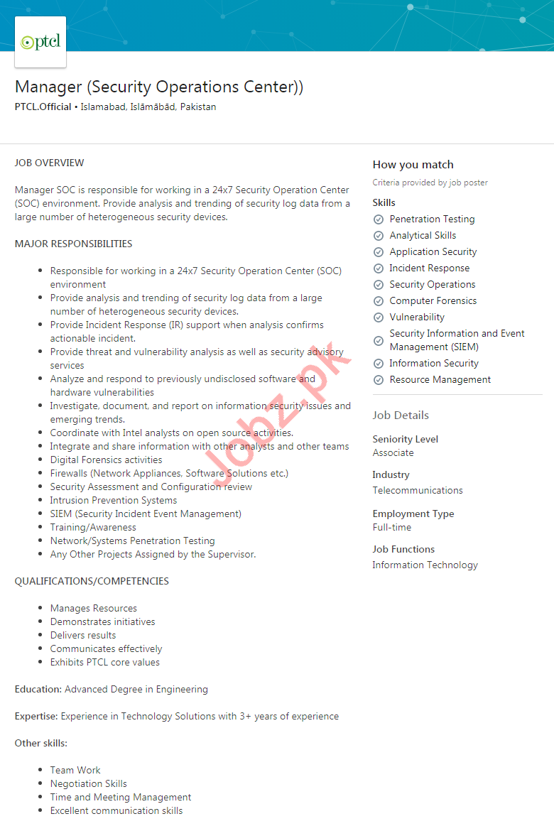 Manager Security Operations Center Jobs in PTCL