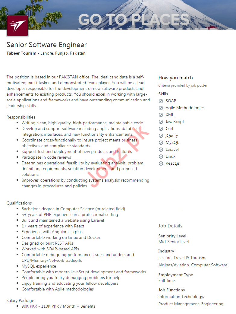 Software Engineer Jobs in Tabeer Toursim Private limited