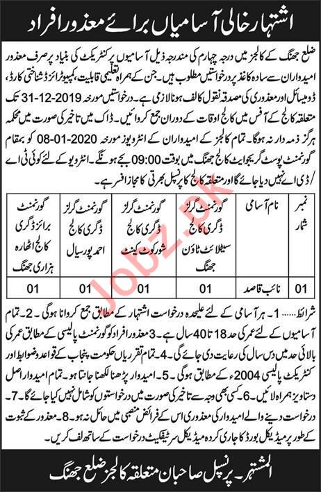 Naib Qasid Jobs in Government Degree Colleges Jhang