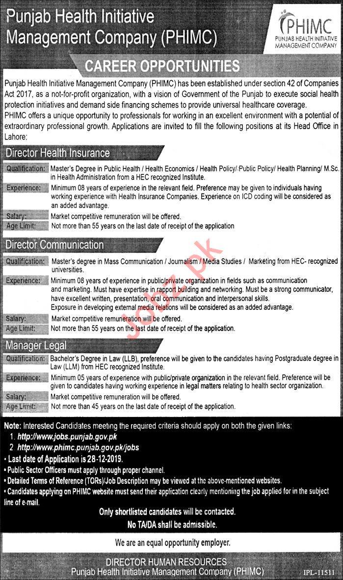 Punjab Health initiative Management Company PHIMC Jobs 2020