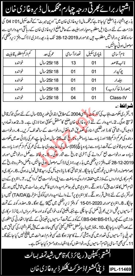 Revenue Department DG Khan Clerical Jobs 2020