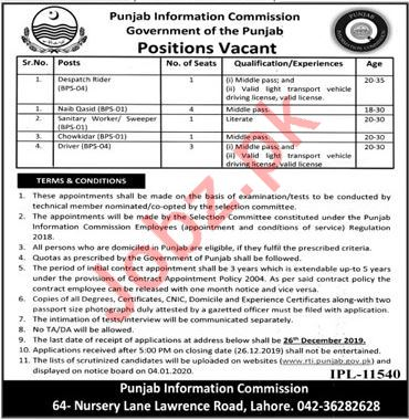 Punjab Information Commission Jobs 2019 in Lahore