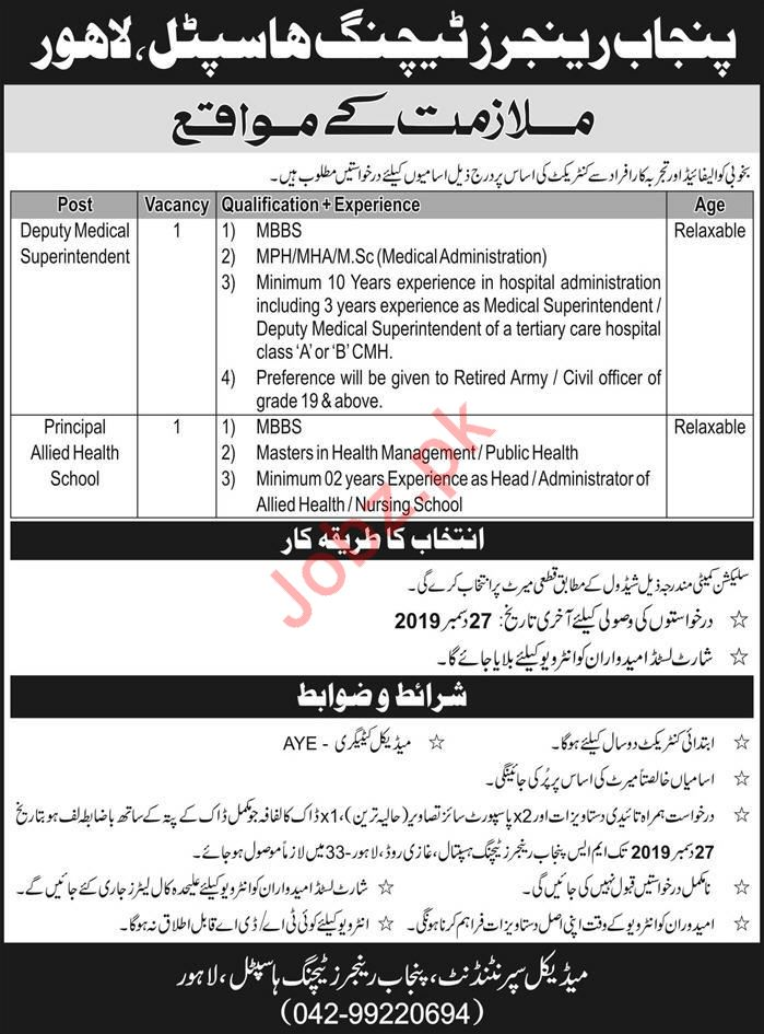 Punjab Rangers Teaching Hospital Medical jobs 2020