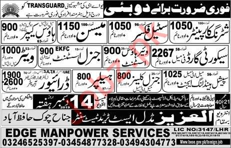 Shuttering Carpenter Mason & Steel Fixer Jobs in Dubai