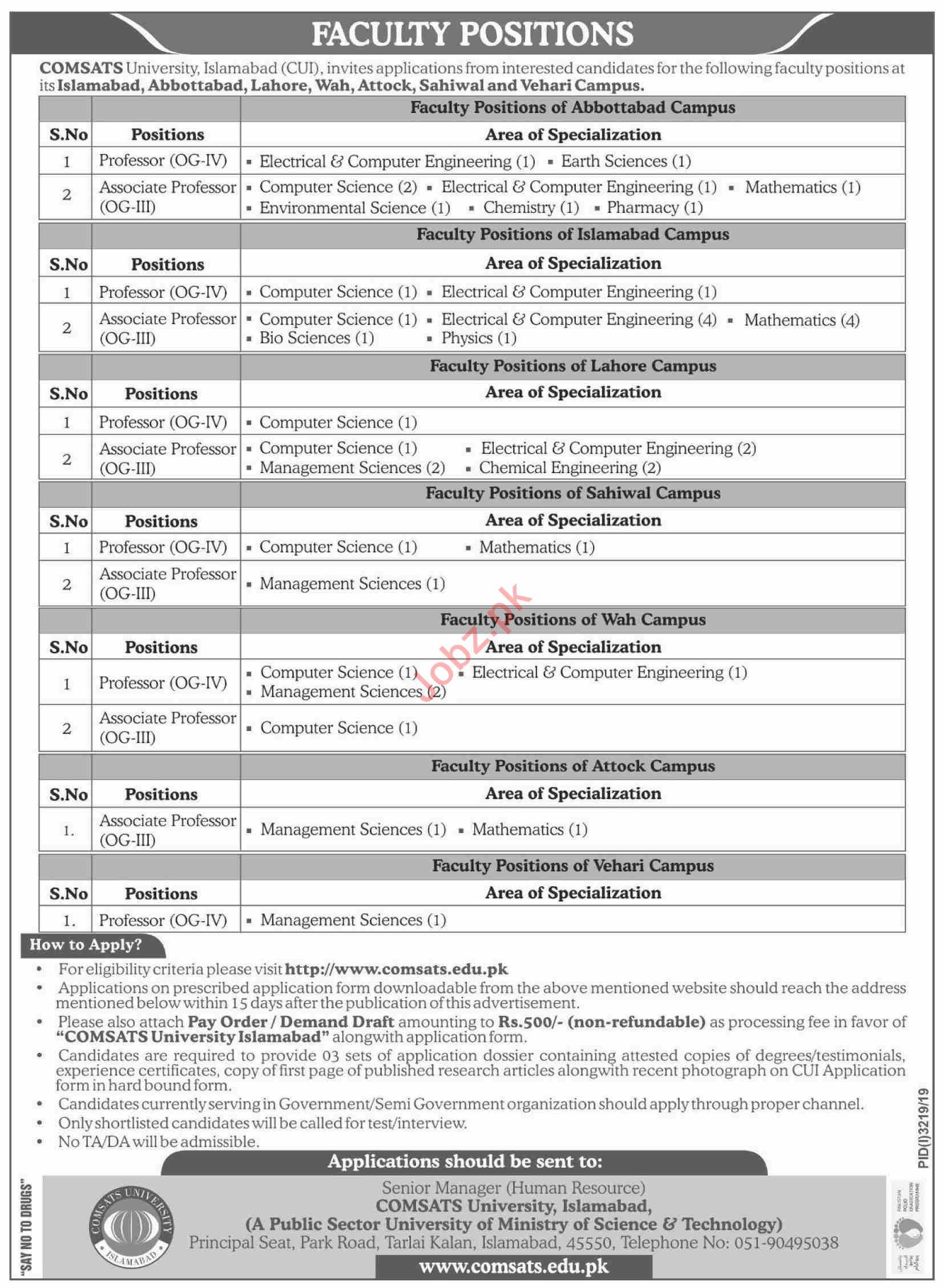 Comsats University Islamabad CUI Jobs 2019 for Professors