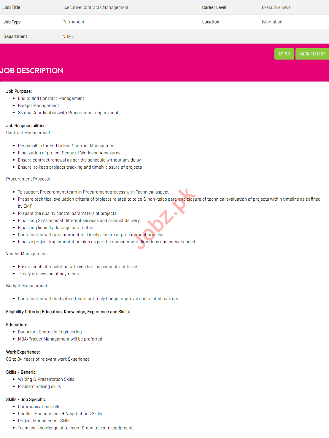 Executive Contracts Management Jobs 2019 in Zong Pakistan