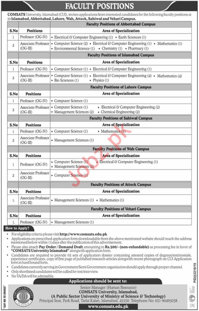 COMSATS University Islamabad Faculty Jobs 2020