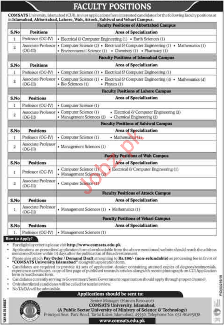 Comsats University Islamabad CUI Faculty Jobs 2020