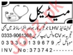 Daily Aaj Newspaper Classified Medical Jobs in Peshawar