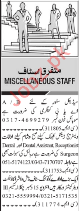 Daily Jang Newspaper Classified Jobs in Islamabad