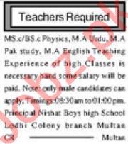 Nishat Boys High School Jobs For Teaching Staff in Multan