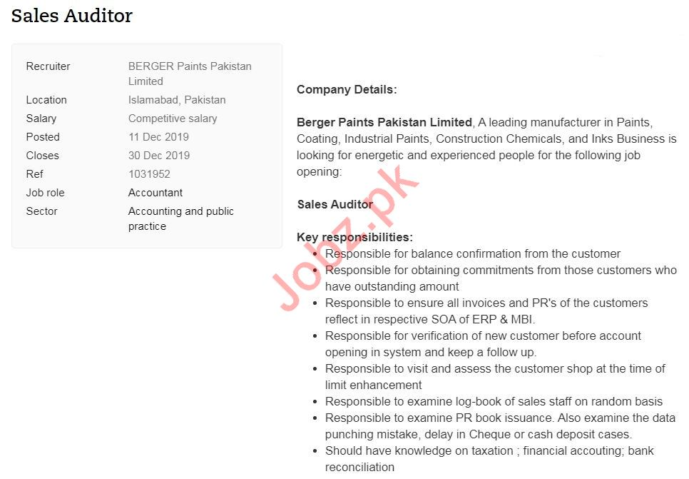 Sales Auditor Job 2020 in Islamabad