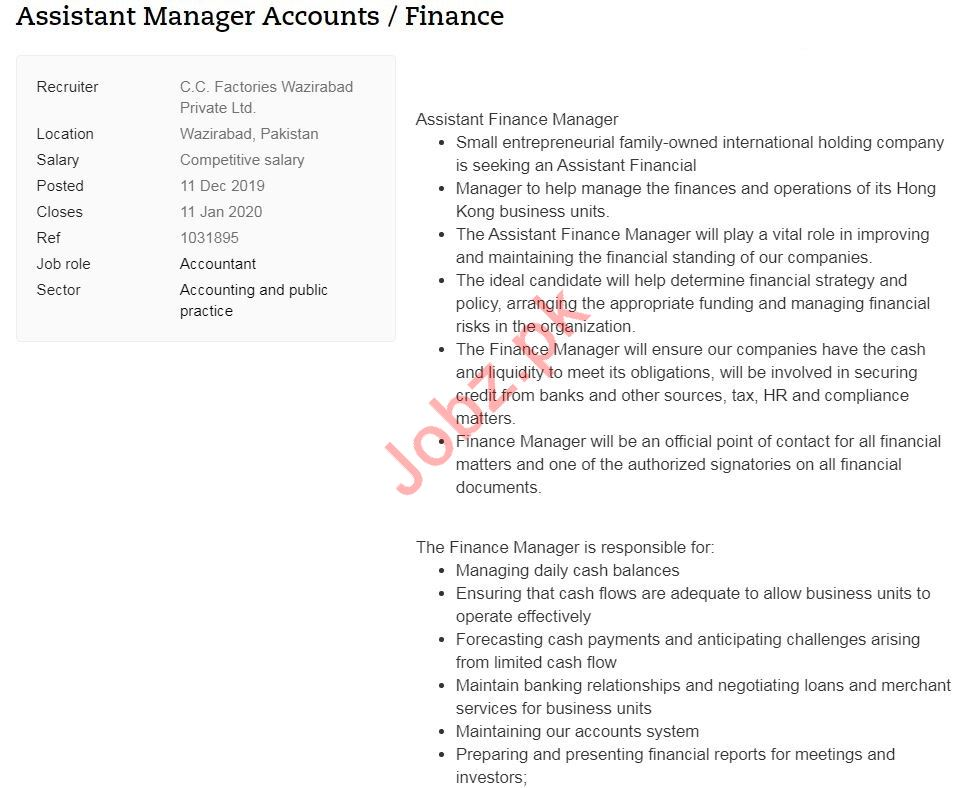 Assistant Manager Accounts & Finance Jobs 2020