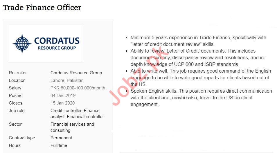 Trade Finance Officer Job 2020 in Lahore