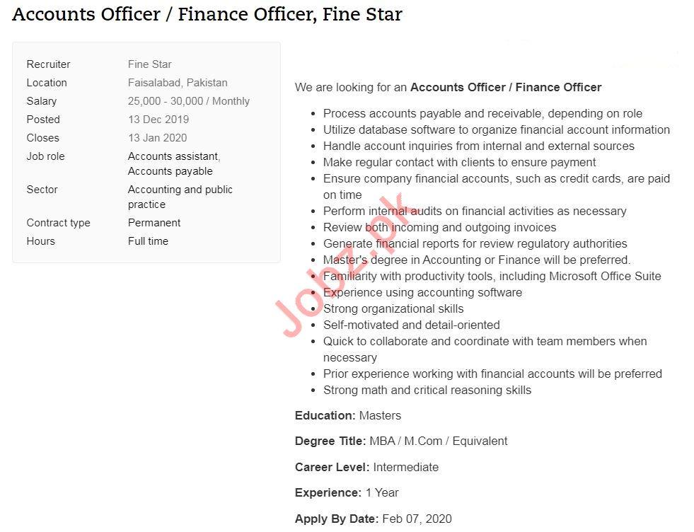Accounts Officer & Finance Officer Jobs 2020 in Faisalabad