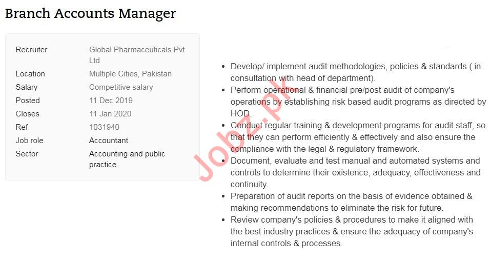 Global Pharmaceutical Jobs For Branch Accounts Manager