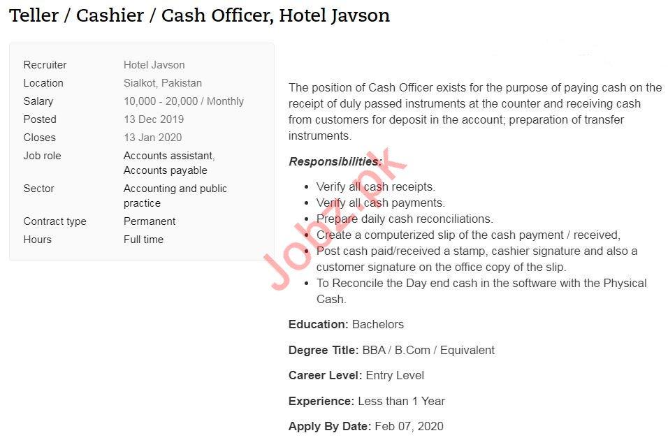 Teller, Cashier & Cash Officer Jobs 2020 in Sialkot