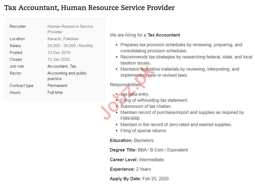 Tax Accountant Job 2020 in Karachi