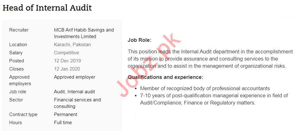 Head of Internal Audit Job 2020 in Karachi