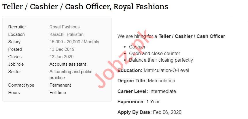 Teller, Cashier & Cash Officer Jobs 2020 in Karachi