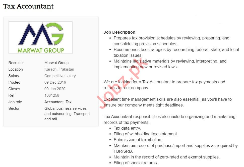 Marwat Group Job For Tax Accountant in Karachi