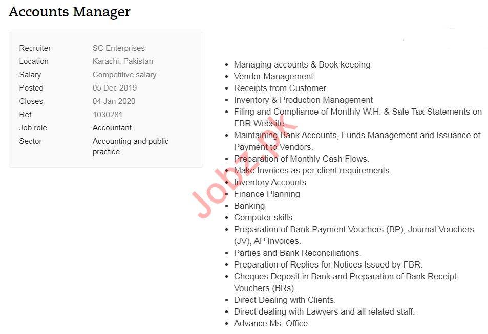 SC Enterprises Job For Accounts Manager in Karachi