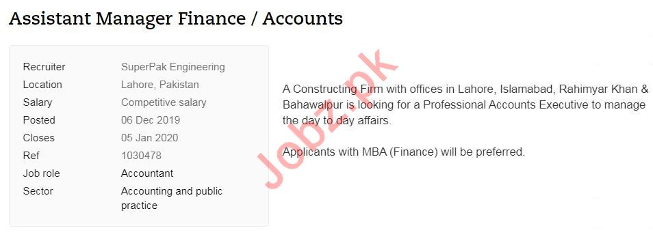 Assistant Manager Finance & Accounts Jobs in Lahore