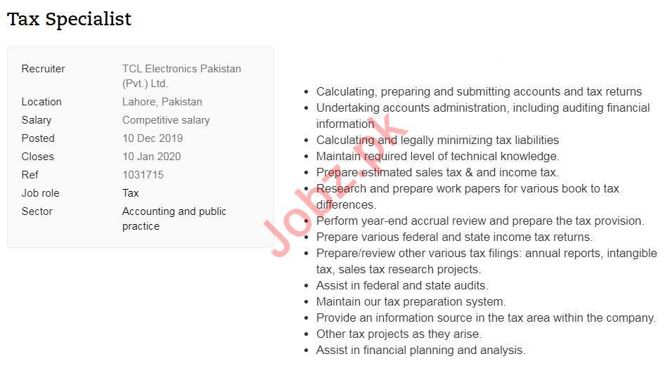 TCL Electronics Pakistan Pvt Ltd Job For Tax Specialist