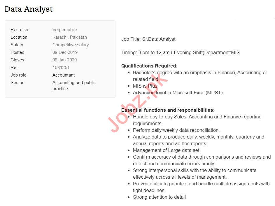 Data Analyst Job 2020 in Karachi