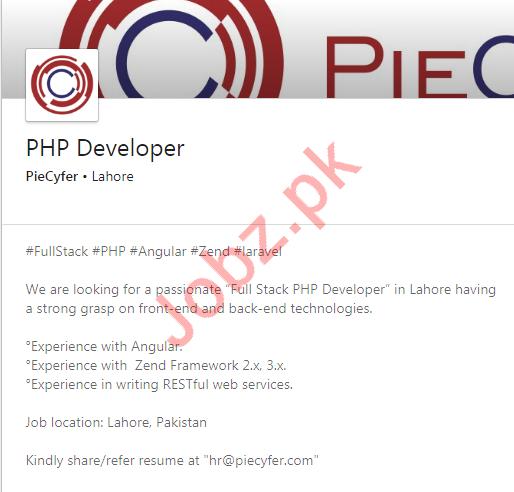 PHP Developer Job 2020 in Lahore