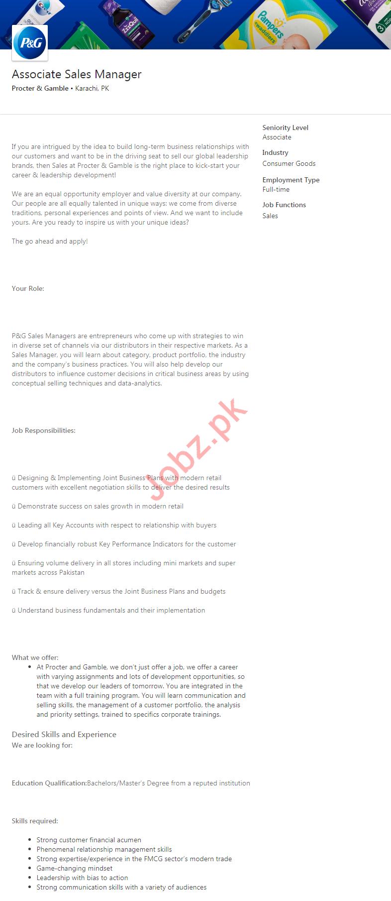 Associate Sales Manager Job 2020 in Karachi