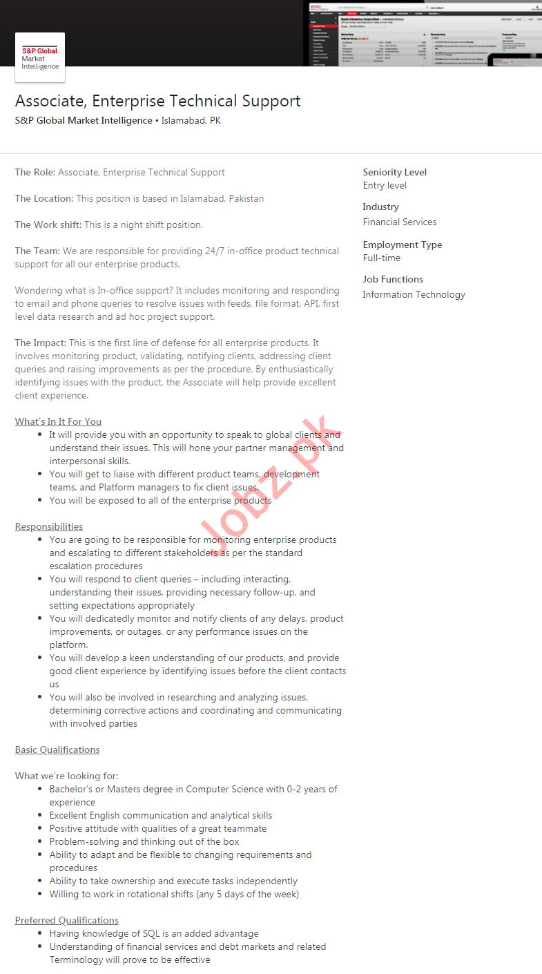 Associate Enterprise Technical Support Job 2020 in Islamabad
