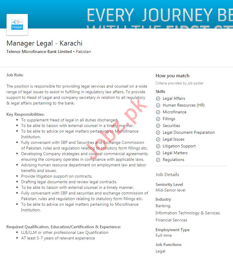 Telenor Microfinance Bank Limited Job in Karachi