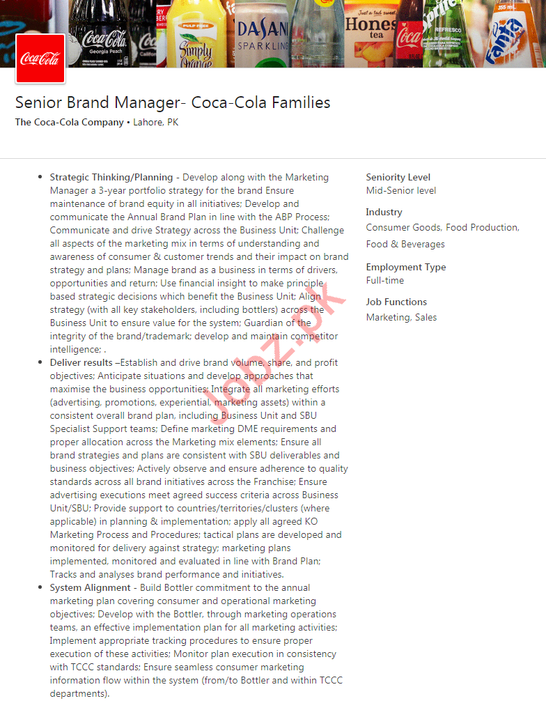 Senior Branch Manager Job 2020 in Lahore