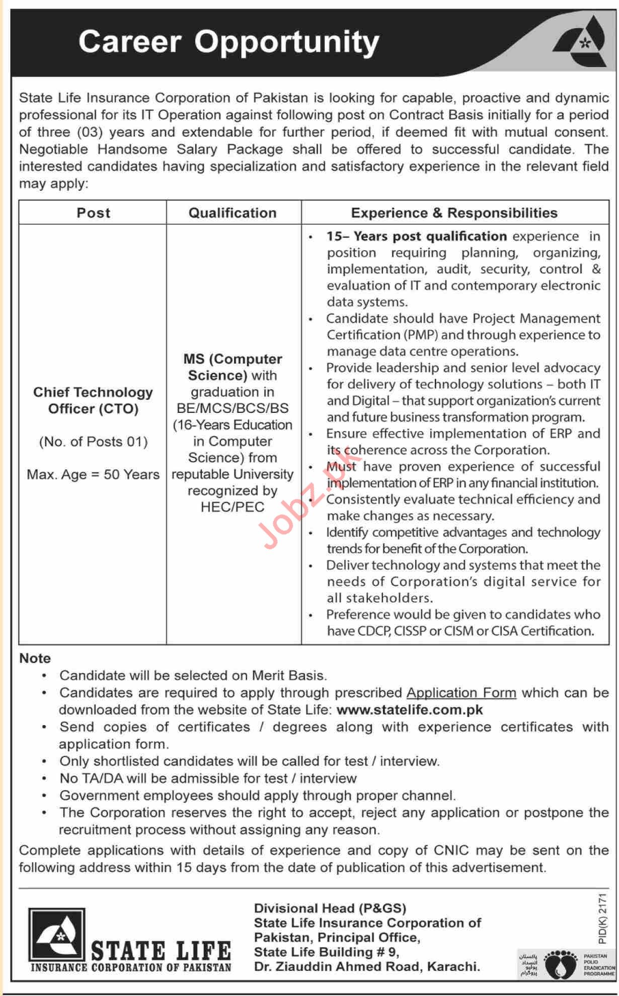 Chief Technology Officer Jobs in State Life Insurance