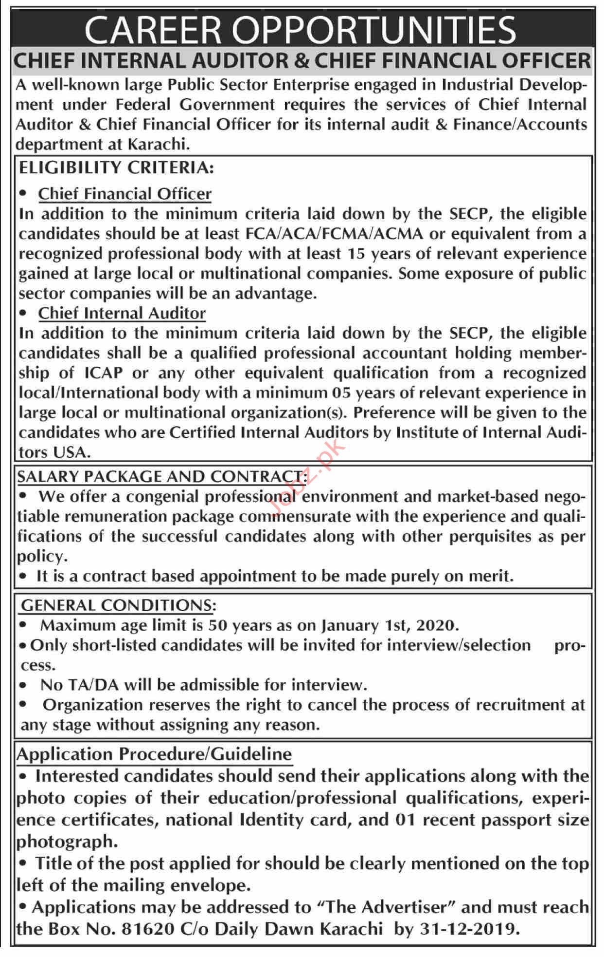 FG Public Sector Organization Jobs in Karachi