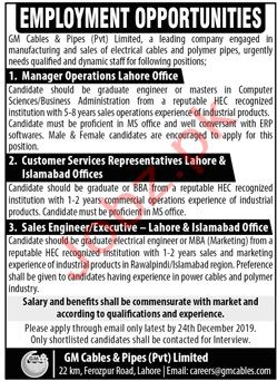 GM Cables & Pipes Pvt Limited Lahore Jobs