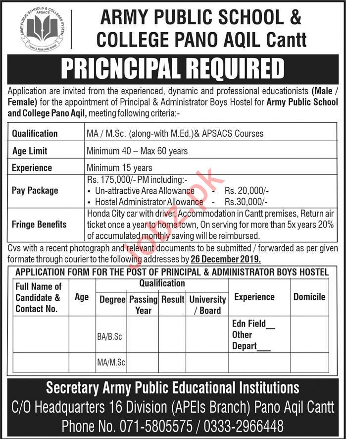 Army Public School & College Pano Aqil Cantt Job 2020