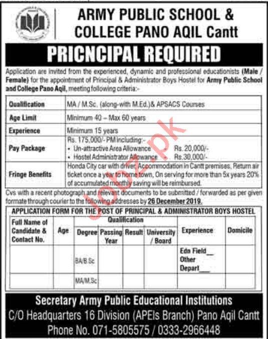 Army Public School & College Principal Jobs 2020