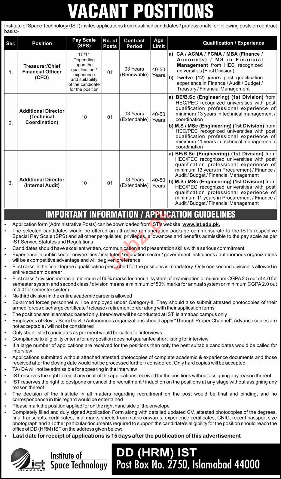Institute of Space Technology IST Jobs in Islamabad