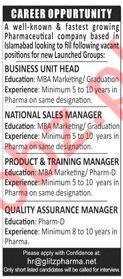 Glitz Pharma Islamabad Jobs 2020 for Business Unit Head