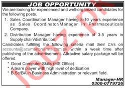 Acumen Pharma Rawalpindi Jobs 2020 for Sales Manager